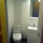 Liten toalett med naturstensklinker och brädväggar (1)